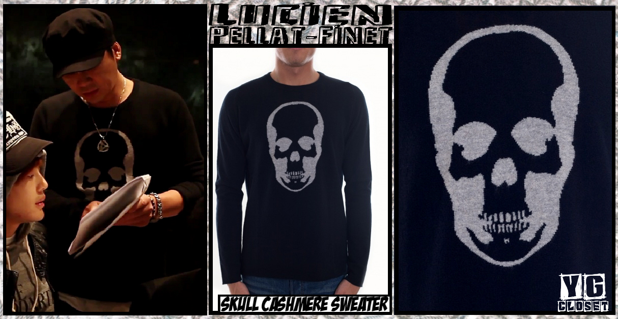 81d2ea8735c0 Papa YG wearing Lucien Pellat-Finet s signature skull cashmere sweater